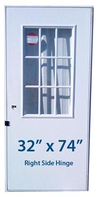 Mobile Home Cottage Door 32x74 RH Right Hand Hinge Doors With Window