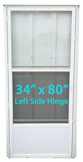 Mobile Home Standard Storm Door 34x80 LH White with Screen