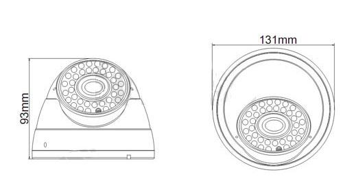 Vandalproof IR Dome Camera, IR LED: 5X36PCS, IR LED