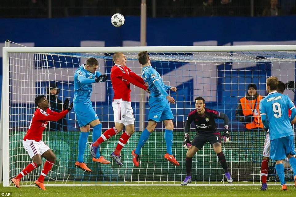Benfica knock Out Zenit, Reach UCL Quarter-finals