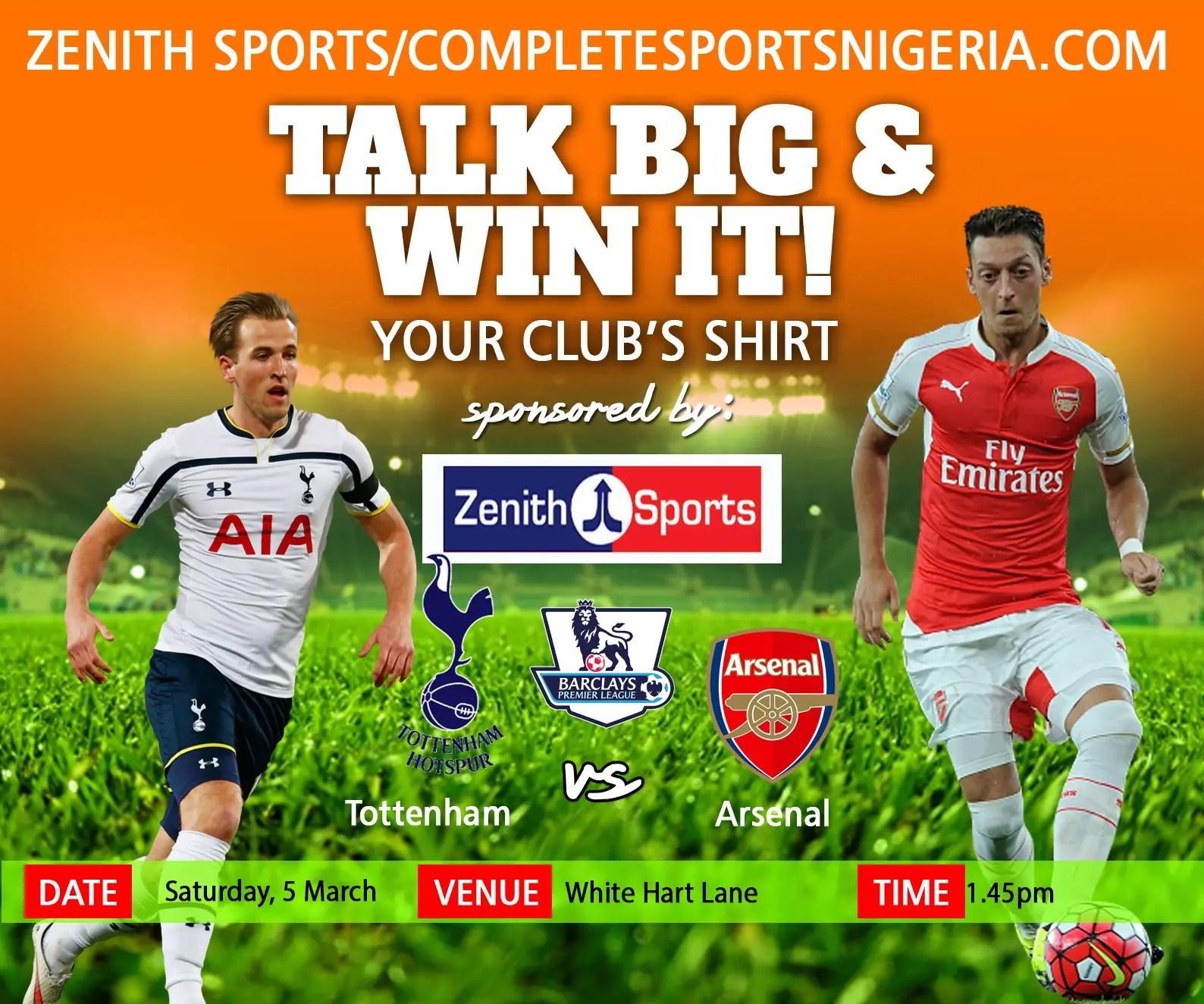 The Winners:  Tottenham Vs Arsenal, Talk Big & Win It!