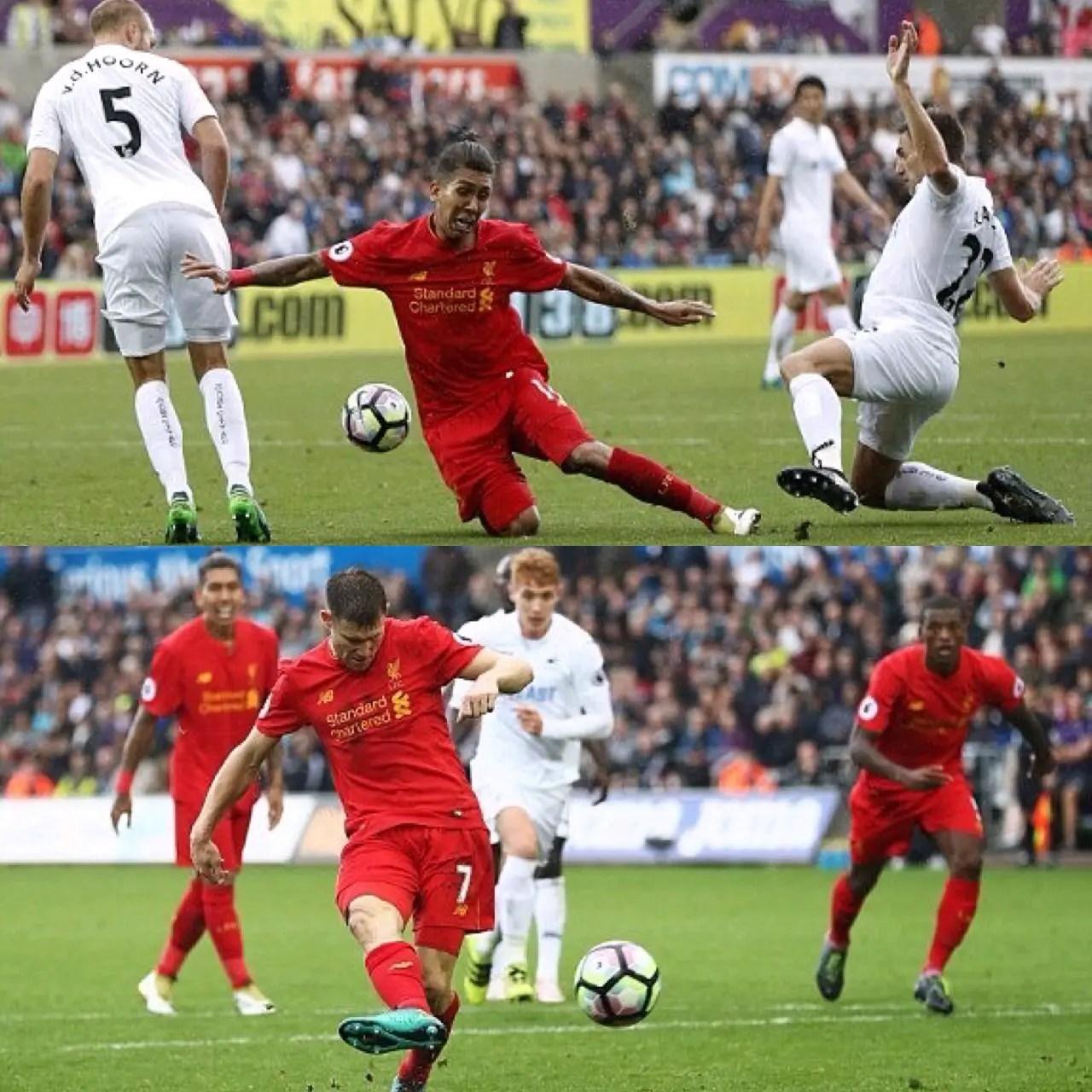 Firmino, Milner Score As Liverpool Edge Swansea