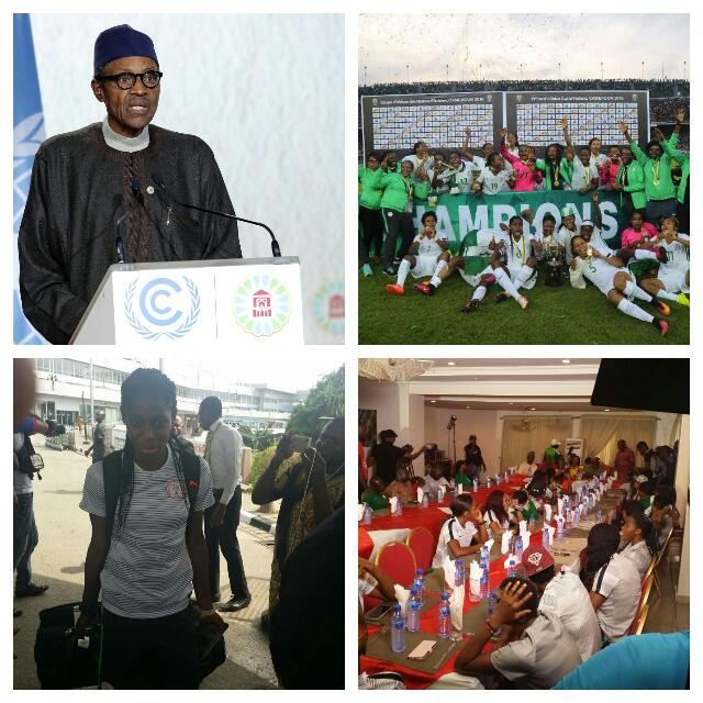 """Buhari Salutes Falcons For """"Sweet Victory"""" As AWCON Champions Arrive"""