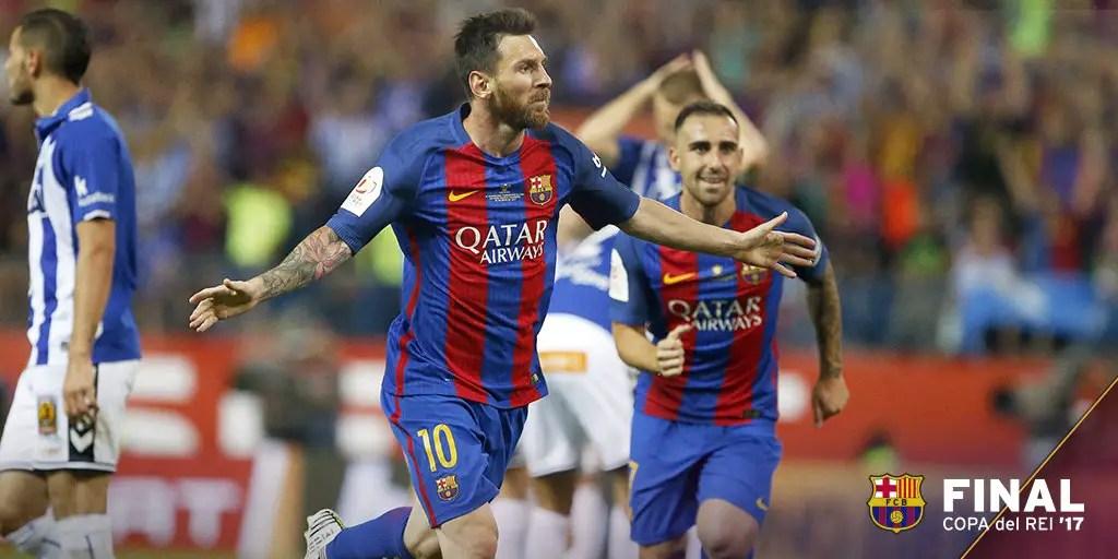 Messi Stars As Barca Win Third Straight Copa Del Rey