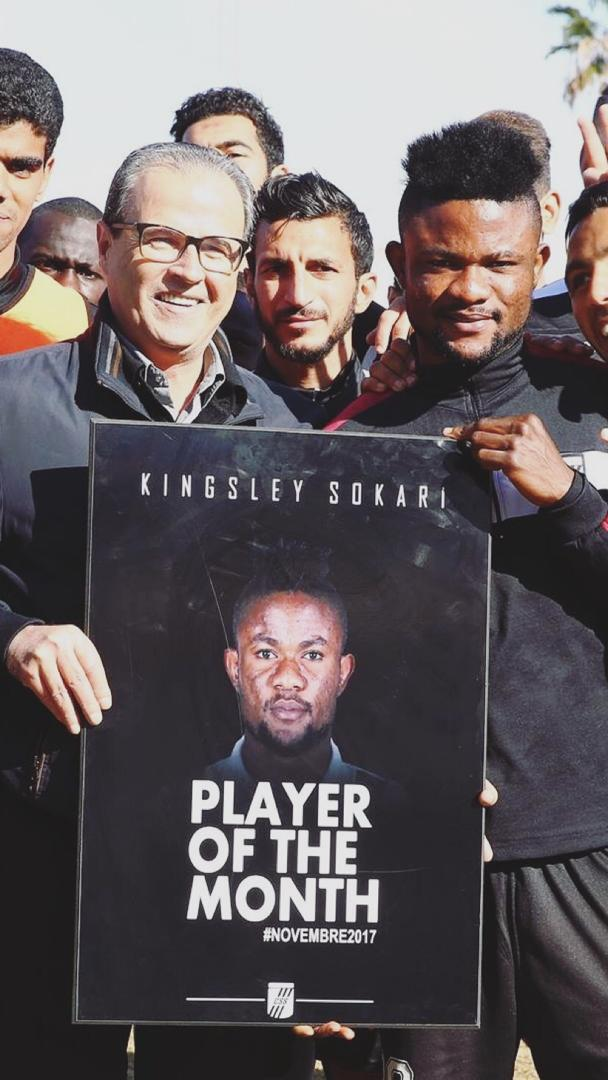 Sokari Celebrates 'Special' CS Sfaxien Player Of Month Award For November