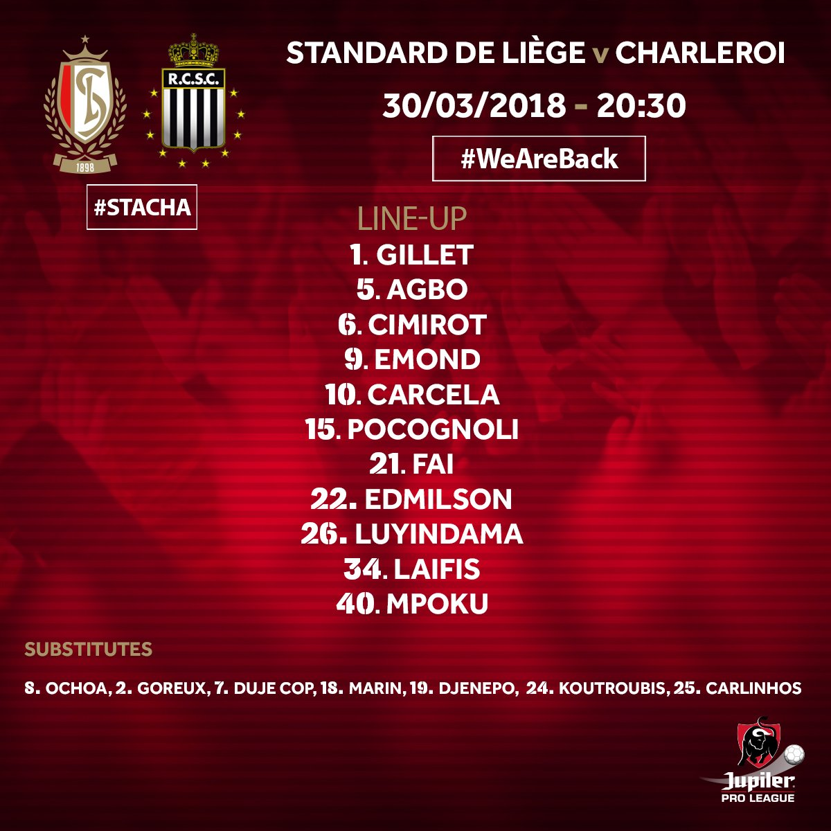 Agbo Stars As Standard Liege Edge Charleroi In Belgian Play-Offs Clash