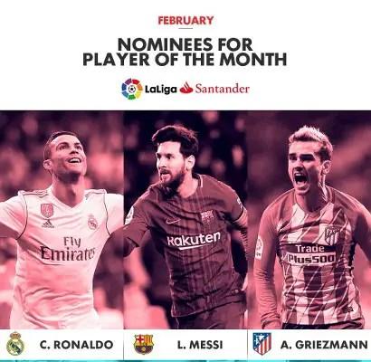 Messi, Ronaldo, Griezmann Vie For LaLiga February POTM Award