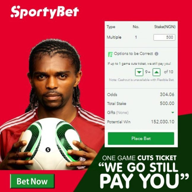 Get Paid By SportyBet, Even When One Game Spoils Your Bet - Complete