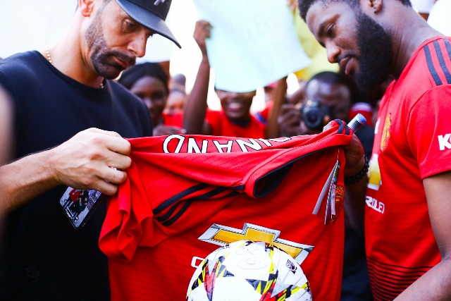 Manchester United Super Fan Meets Club Icon In Lagos