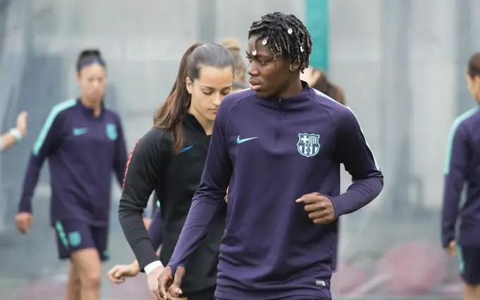 Oshoala Resumes  Training With Barcelona Ladies After Injury Setback