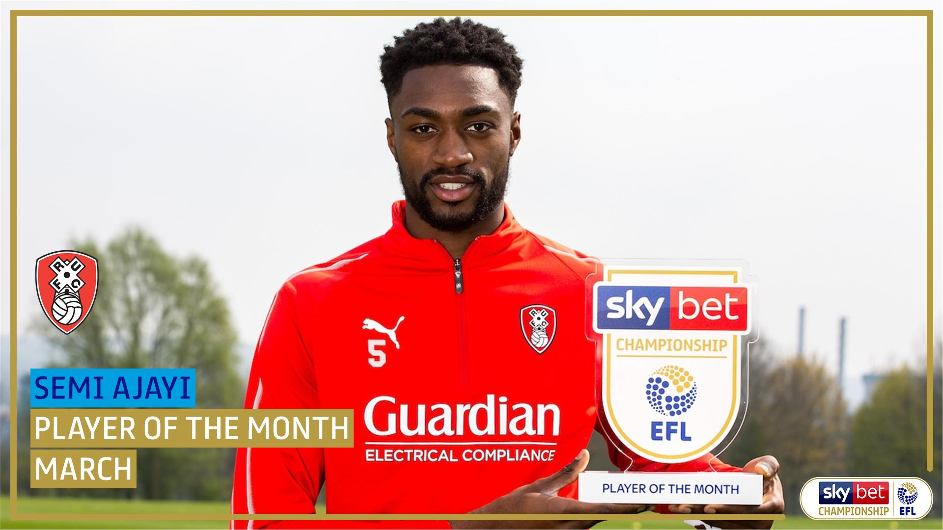 Ajayi Wins Championship March POTM Award, Thanks Rotherham Teammates