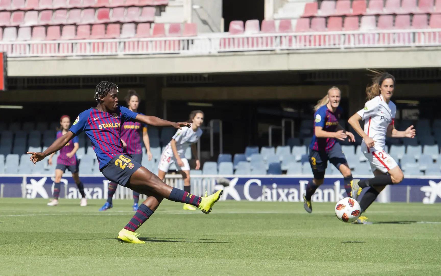 Oshoala Nets Brace In Barcelona Ladies' 6-2 Thrashing Of Sevilla