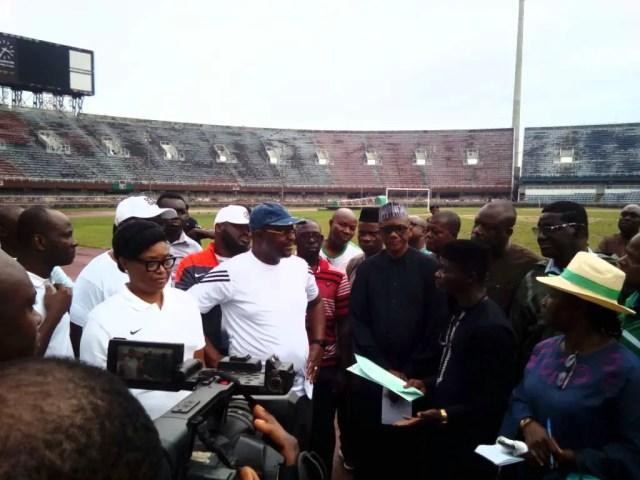 Dare Tours National Stadium Lagos, Promises To Revamp Rotting Edifice