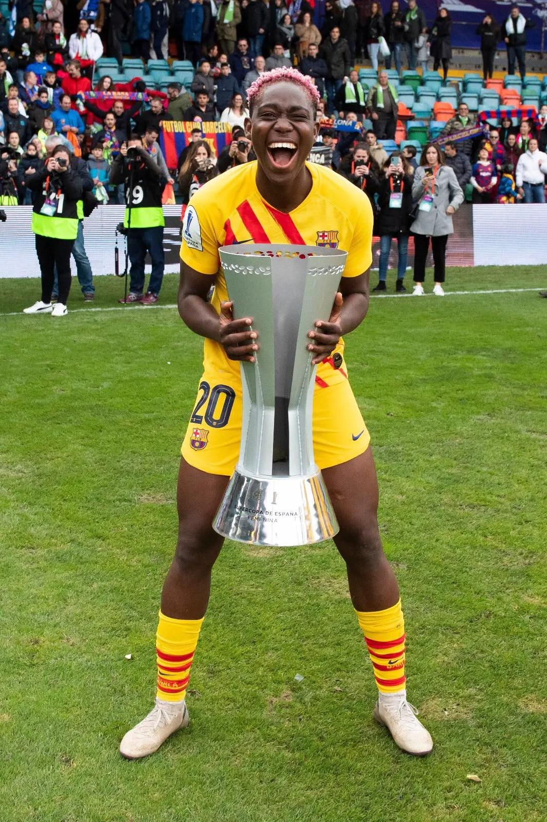 Oshoala Celebrates Barcelona Ladies Super Cup Win Vs Real Sociedad