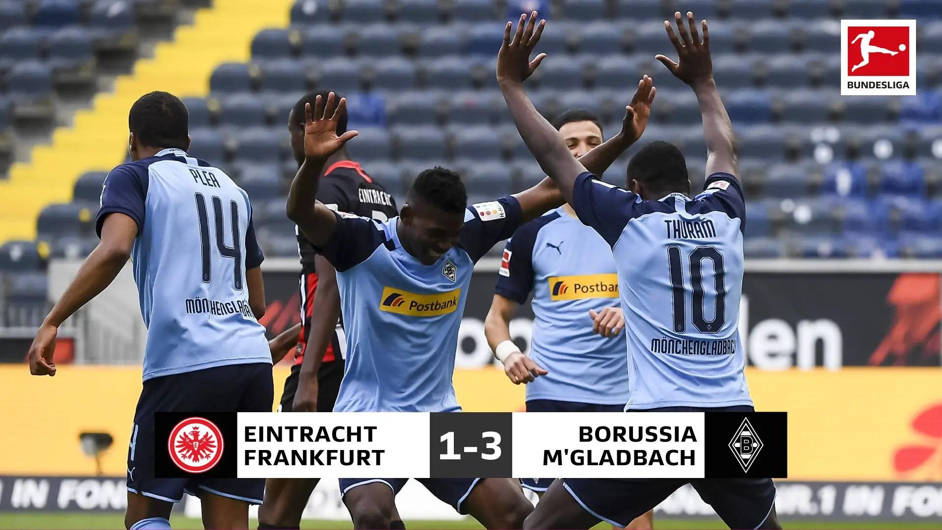 Bundesliga:  M'gladbach Climb To Third Spot With Away Win At Frankfurt