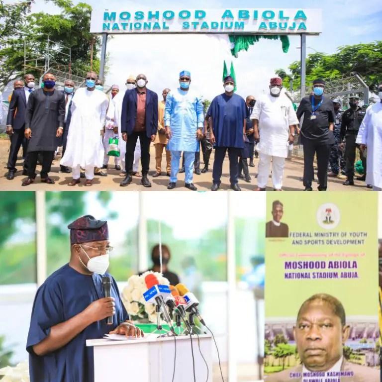 Dare Unveils Moshood Abiola National Stadium; Hails Dangote, Adebutu For Supporting Nigerian Sports