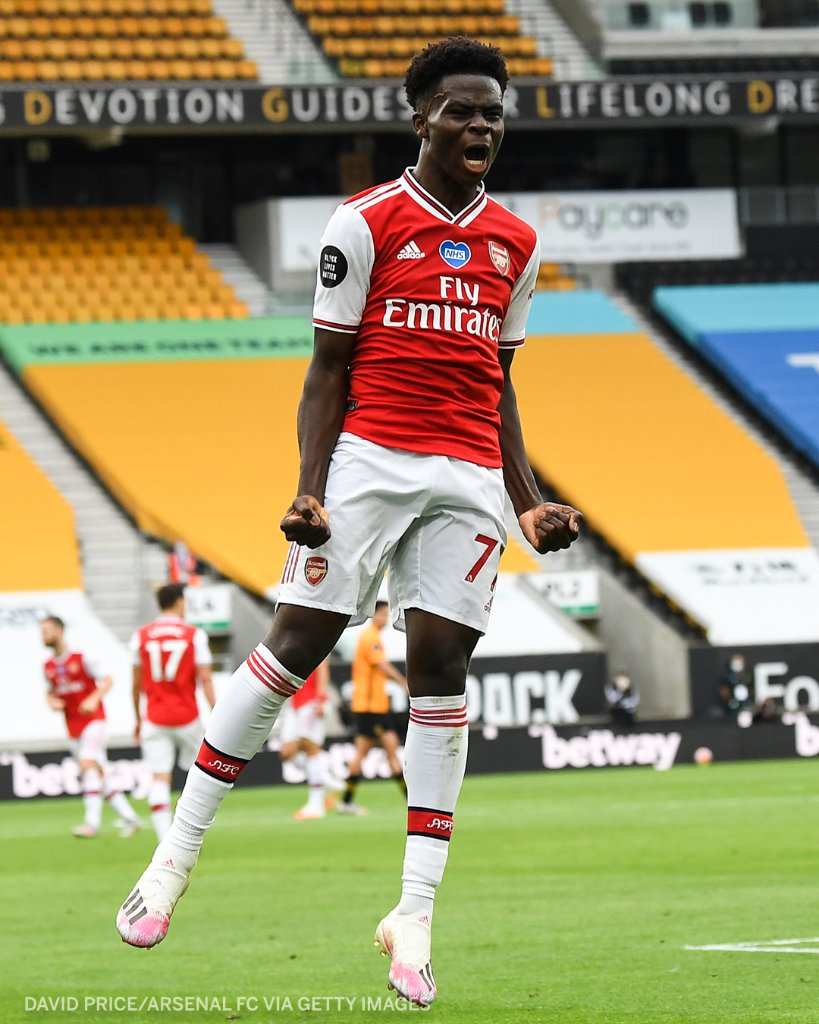 Saka On Target As Arsenal Beat Wolves To Keep UCL Qualification Hopes Alive