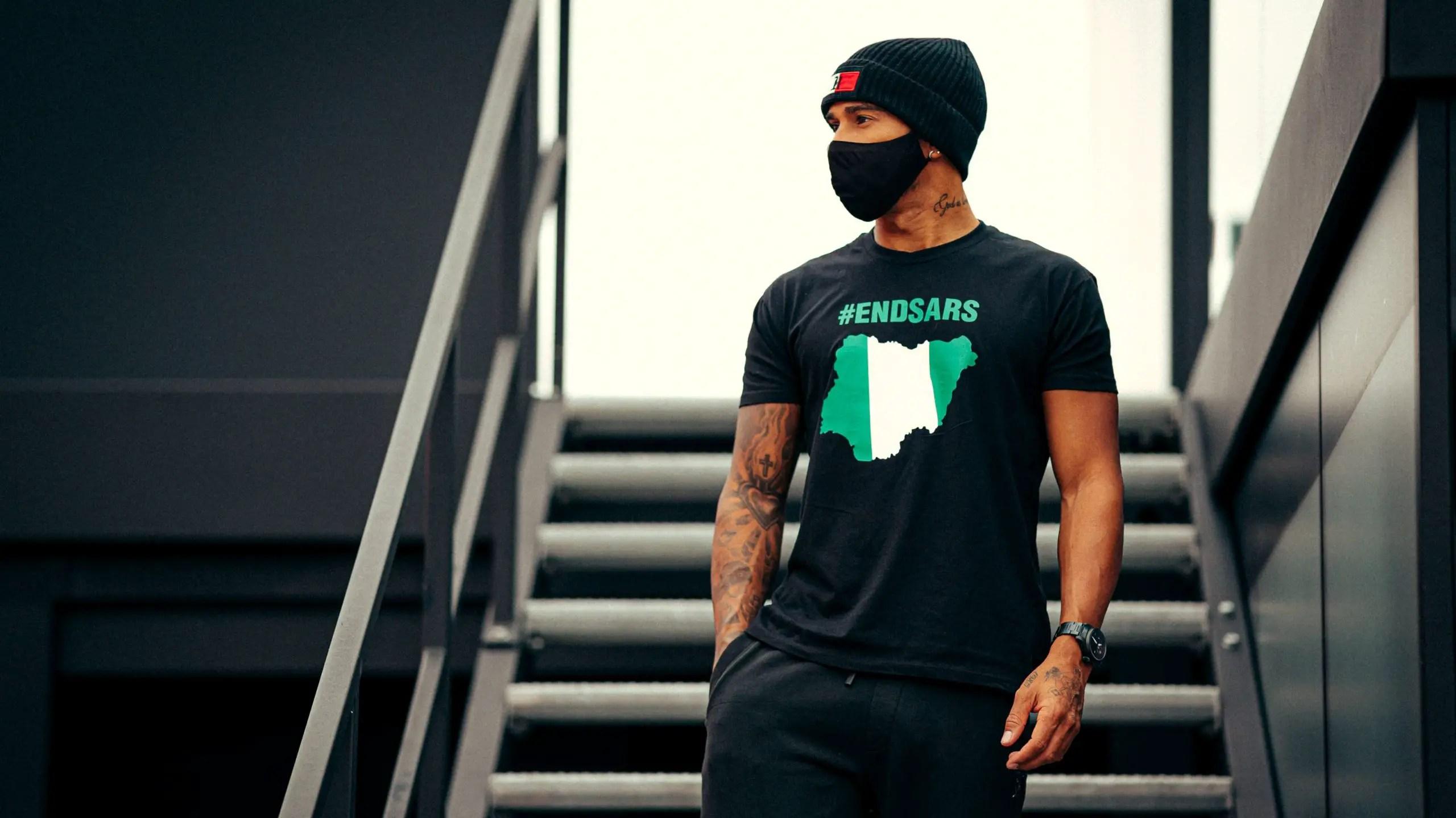 F1 Star Hamilton Reacts To #EndSar Protest In Nigeria