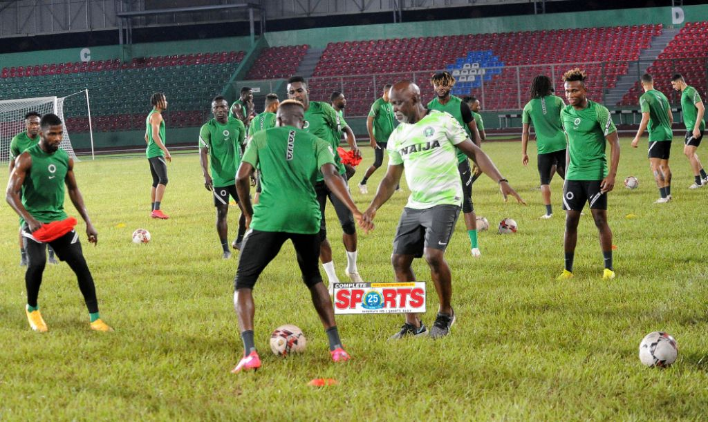 PHOTOS: Sports Minister Dare, Pinnick Dazzle As Eagles Round Off Training For Sierra Leone Clash