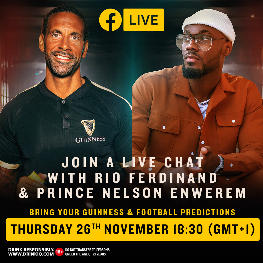 Guinness Ambassadors ; Ex-BBN Housemate Prince Enwerem and Rio Ferdinand Serve Hot Predictions For This Year's EPL And Other Leagues.