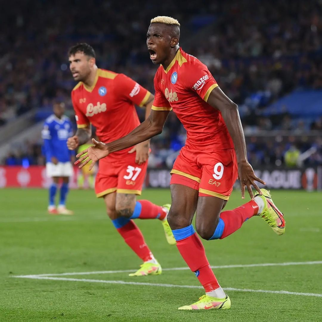 Europa: Iheanacho Bags Assist, Ndidi Sent Off As Osimhen's Brace Rescues Point For Napoli At Leicester