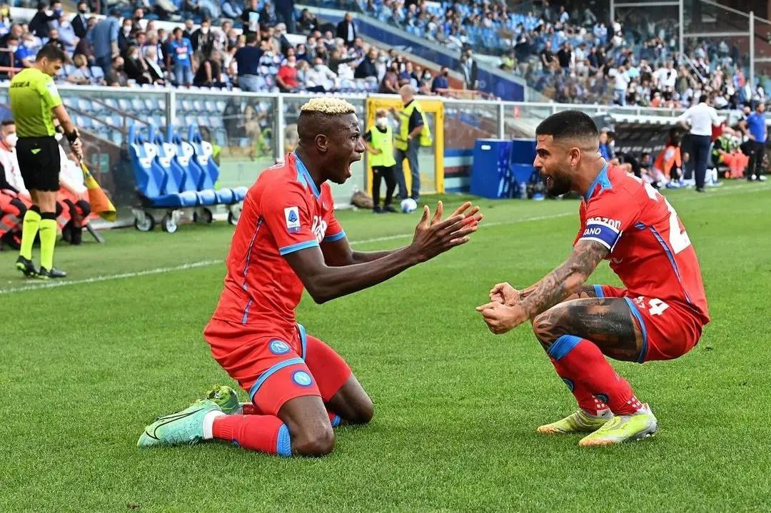 Osimhen Nets Brace As Napoli Thrash Sampdoria 4-0 To Reclaim Top Spot