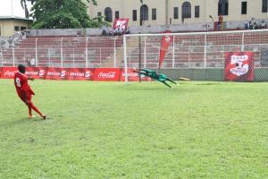 Asegun Keeper blocks a goal from the Enugu boys during penalties