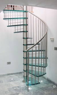Spiral Staircase Suffolk. A bespoke glass tread spiral