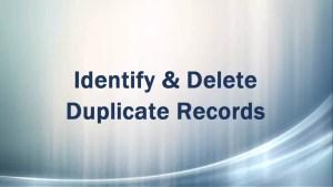 Delete duplicate Records