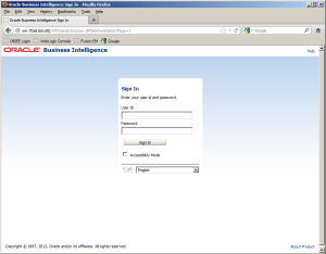 Log in page obiee