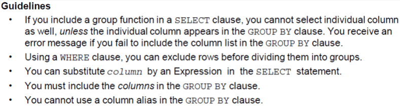Oracle SQL Group by example