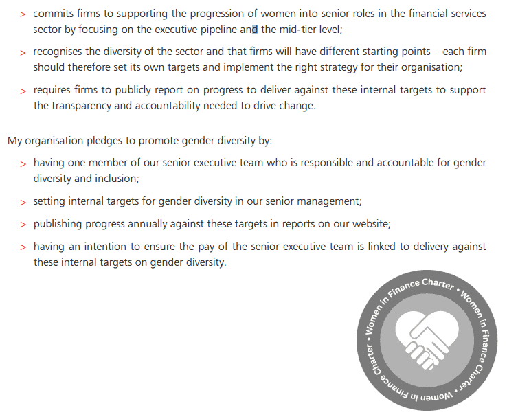 So what is the Women in Finance Charter?