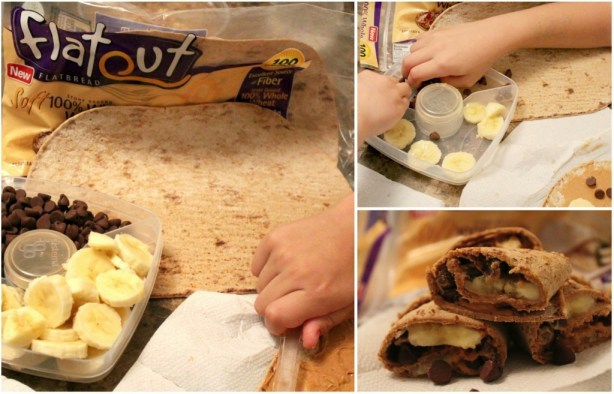 peanutbutter banana roll ups with chocolate chips- healthy snacks for kids- flatout-sams club