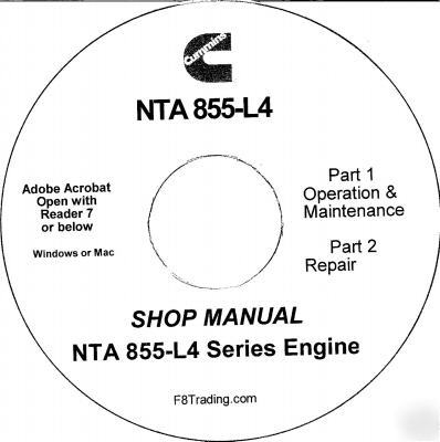 Cummins diesel nta 855-L4 engine service repair cd