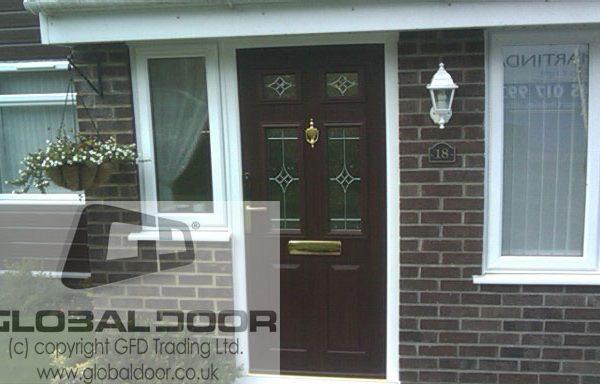 Woodgrain 2 panel 4 square Composite Door