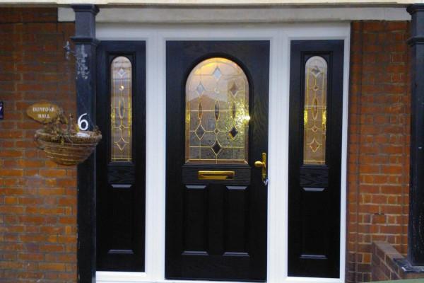 black 2 panel 1 arch sidepanel Composite Door