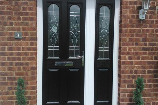 black 2 panel 2 arch Composite Door side panel