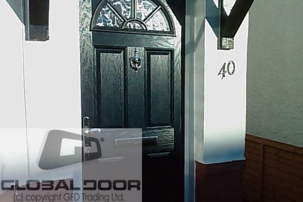 black 4 panel 1 sunburst Composite Door