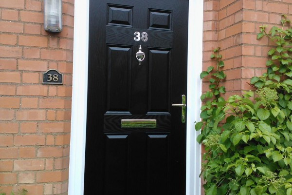 black 6 panel Composite Door arched top
