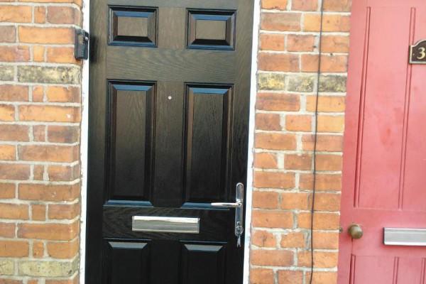 black 6 panel Composite Door top box