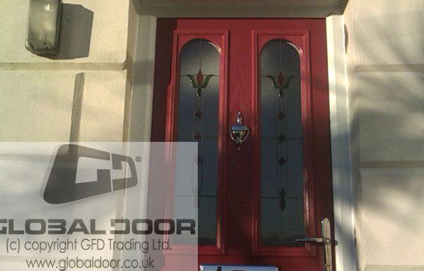 red 2 panel 2 arch Composite Door