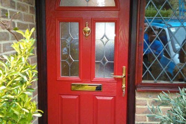 red 2 panel 2 square 1 arch Composite Door