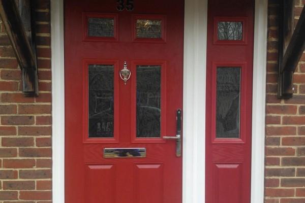 red 2 panel 4 sqaure Composite Door