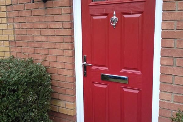 red 4 panel 1 sunburst Composite Door 2