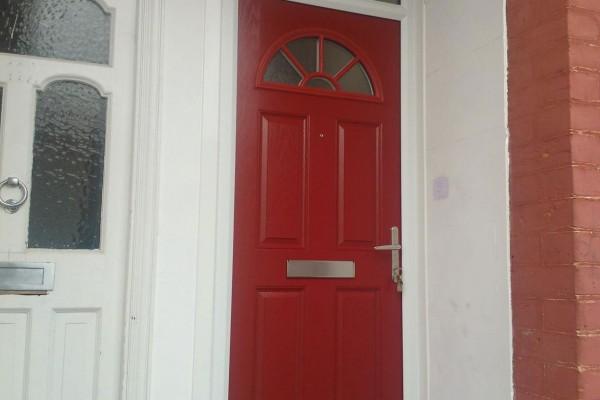 red 4 panel 1 sunburst Composite Door 4