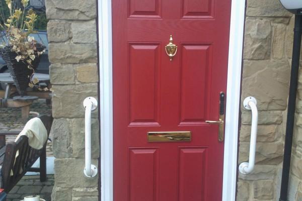 red 6 panel composite door 3