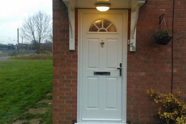white 4 panel 1 sunburst Composite Door