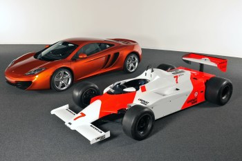 Picture of the McLaren MP4/1 alongside the MP4-12C
