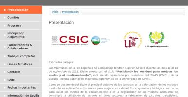 V Jornadas de la Red Española de Compostaje (REC), Sevilla, 16-18 de noviembre de 2016