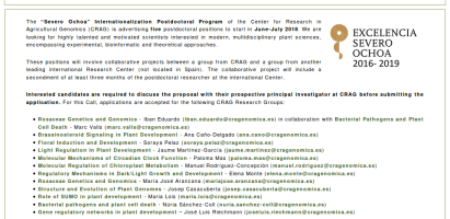 Convocatoria de ayudas postdoctorales en el prestigioso Centro de Investigación AgriGenómica (CRAG) (hasta el 8 de enero de 2018)